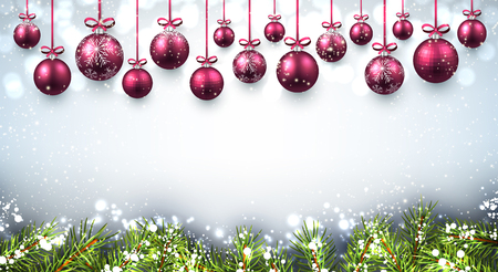pink christmas: New Year background with pink Christmas balls. Vector illustration. Illustration