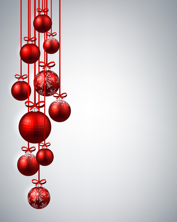 christmas balls: New Year background with red Christmas balls. Vector illustration.