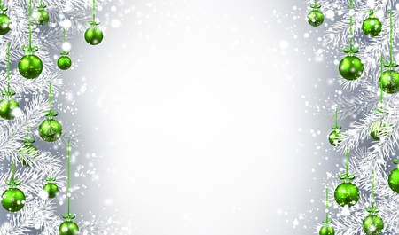 christmas balls: New Year background with Christmas balls and fir branches. Vector illustration. Illustration