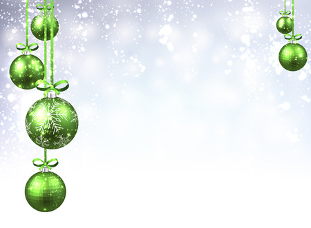 green ribbon: New Year background with green Christmas balls. Vector illustration. Illustration