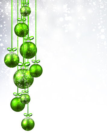 christmas balls: New Year background with green Christmas balls. Vector illustration. Illustration
