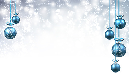 christmas blue: New Year background with blue Christmas balls. Vector illustration.
