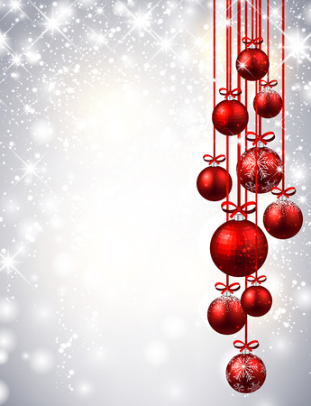 christmas balls: New Year luminous background with red Christmas balls. Vector illustration.