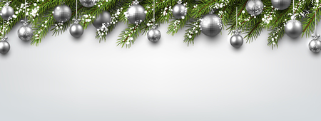 christmas balls: New Year banner with Christmas balls and fir branches. Vector illustration. Illustration