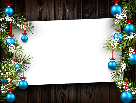 christmas blue: New Year wooden background with blue Christmas balls. Vector illustration.