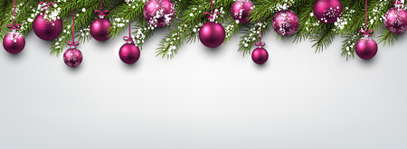 pink christmas: New Year banner with Christmas balls and fir branches. Vector illustration. Illustration