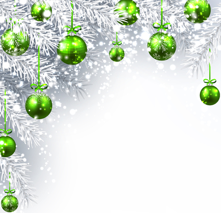 New Year background with Christmas balls and fir branches. Vector illustration. Vetores