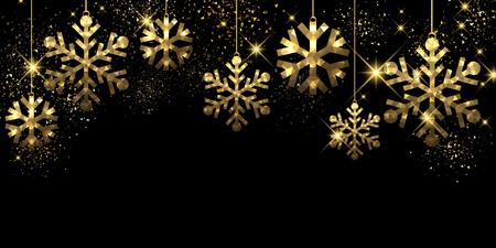 golden: Christmas black background with golden snowflakes. Vector illustration. Illustration