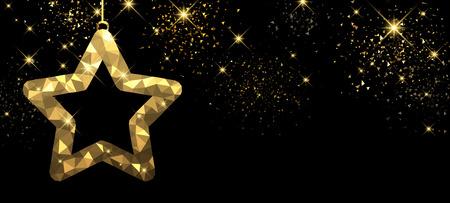 golden star: Christmas black banner with golden star. Vector illustration. Illustration
