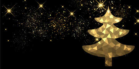 black tree: New Year black background with golden Christmas tree. Vector illustration.