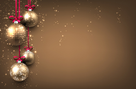 christmas balls: New Year background with golden Christmas balls. Vector illustration. Illustration