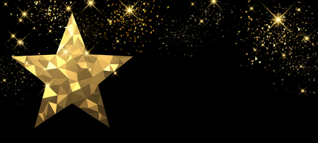 Christmas black banner with golden star. Vector illustration. Çizim