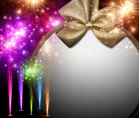 satin: Christmas background with golden satin bow and fireworks. Vector illustration. Illustration