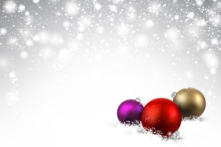 Gray background with colorful Christmas balls and snow. Vector illustration.