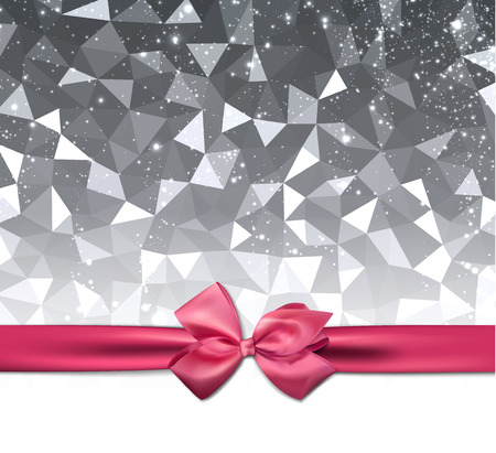 ribbon background: Gray shining geometric background with pink satin bow. Vector illustration.