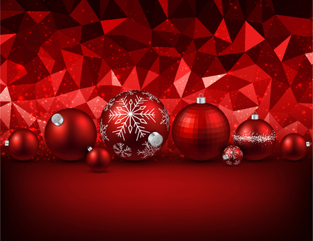 Red geometric background with Christmas balls. Vector illustration. Illustration
