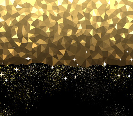 triangles: Black and golden abstract background. Vector illustration.