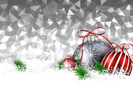 Fondo geometrico d'argento del nuovo anno con le palle di Natale. Illustrazione vettoriale