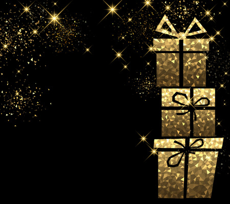 Christmas black background with golden gifts. Vector illustration.