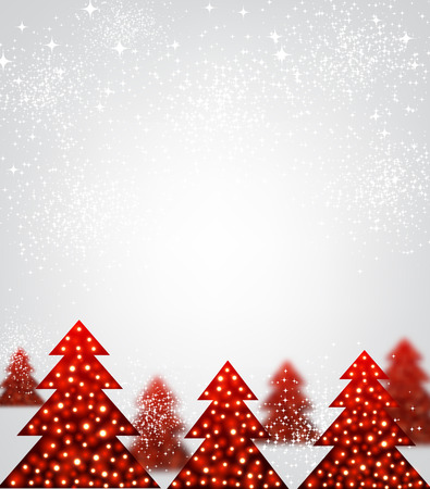 original: New Year background with original red Christmas trees. Vector illustration.