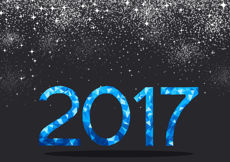 original: Black 2017 New Year background with blue figures. Vector illustration.