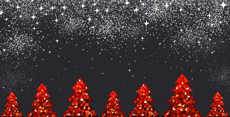 black banner: New Year black background with red Christmas trees. Vector illustration. Illustration