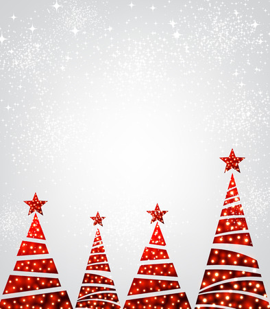 red christmas background: New Year background with original red Christmas trees. Vector illustration.