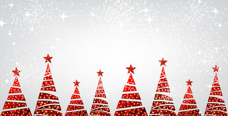red banner: New Year banner with original red Christmas trees. Vector illustration. Illustration