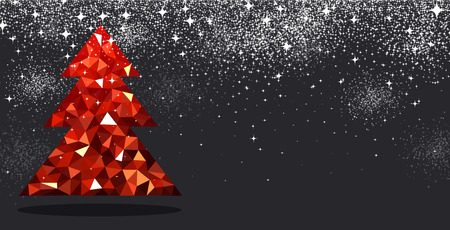 black tree: New Year black background with red Christmas tree. Vector illustration.