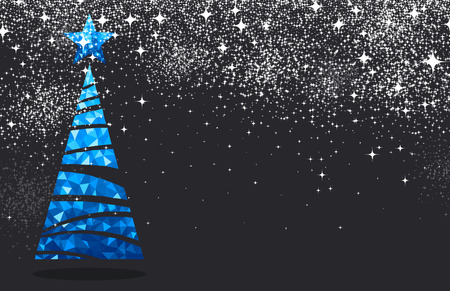 black tree: New Year black background with blue Christmas tree. Vector illustration. Illustration