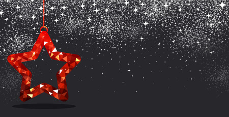christmas star background: Black festive Christmas background with red star. Vector illustration.