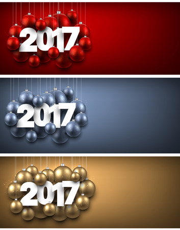 blue ball: 2017 New Year banners set with Christmas balls. Vector illustration. Illustration