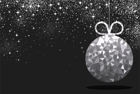 black and silver: New Year black background with silver Christmas ball. Vector illustration.