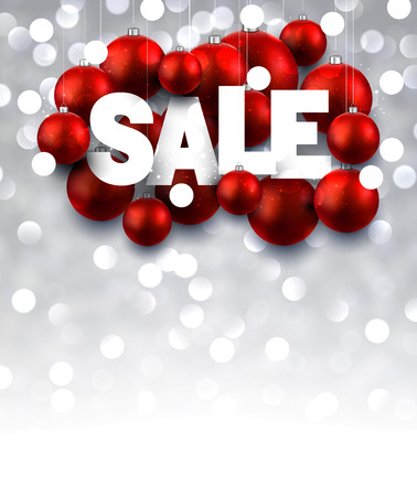 sellout: Luminous sale background with red Christmas balls. Vector illustration.