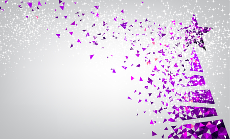 silver stars: New Year background with purple Christmas tree. Vector illustration. Illustration