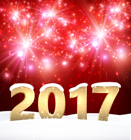 Red 2017 New Year shining background with snow. Vector illustration.
