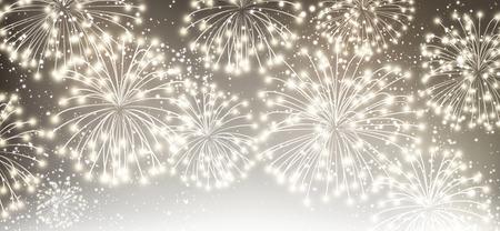 luminous: Gray festive luminous banner with fireworks. Vector illustration.