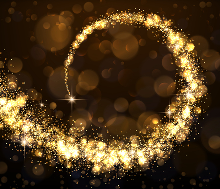 Abstract background with golden swirl. Vector illustration.