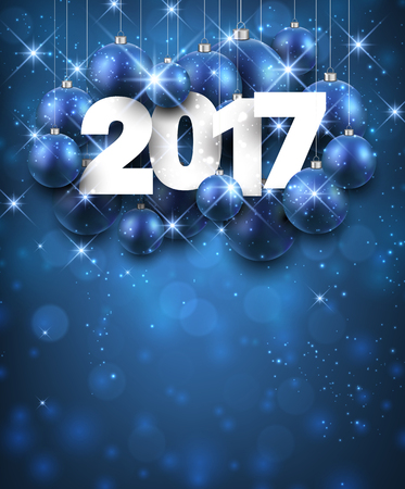 new year poster: Blue 2017 New Year background with Christmas balls. Vector illustration. Illustration