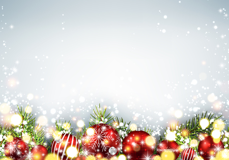 christmas red: Shining New Year background with red Christmas balls. Vector illustration.