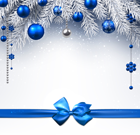 blue bow: Blue New Year background with Christmas balls and bow. Vector illustration.
