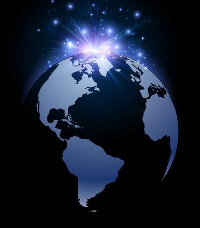 luminous: Earth planet luminous background. Vector illustration.