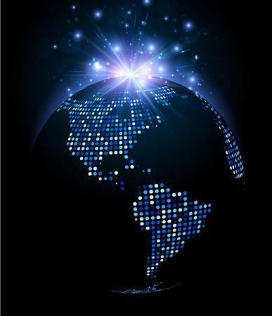 Earth planet mosaic luminous background. Vector illustration.
