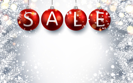 retail sales: Silver luminous sale background with red Christmas balls. Vector illustration. Illustration