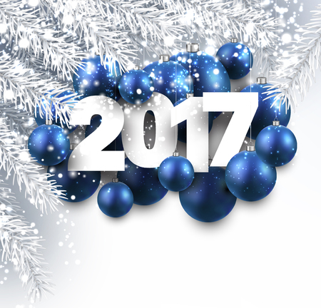 silver balls: 2017 New Year background with blue Christmas balls. Vector illustration.