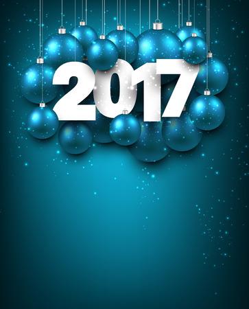 blue ball: Aquamarine 2017 New Year background with Christmas balls. Vector illustration. Illustration