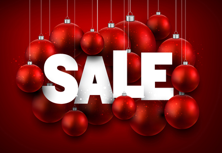 sellout: Red sale background with Christmas balls. Vector illustration. Illustration