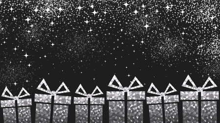 black and silver: Black festive Christmas background with gray gifts. Vector illustration. Illustration