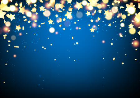 Blue festive background with confetti and yellow stars. Vector illustration. Vetores
