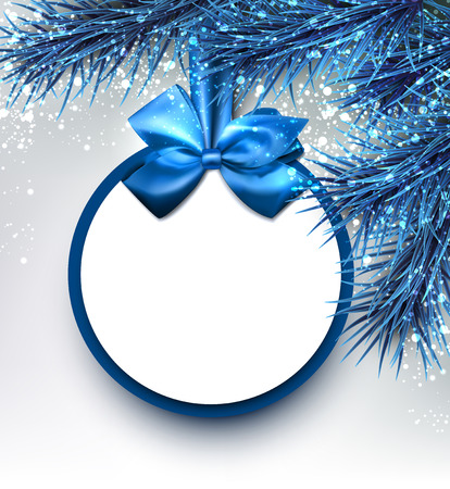 christmas blue: Blue Christmas background with fir branches and bow. Vector illustration. Illustration